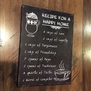Plaque of Recipe for a Happy Home